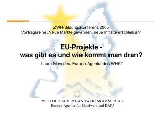 EU-Projekte -  was gibt es und wie kommt man dran?