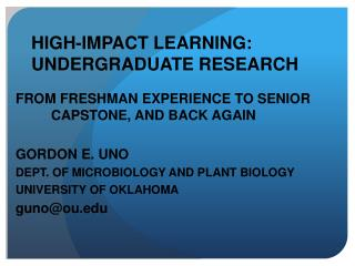 HIGH-IMPACT LEARNING: UNDERGRADUATE RESEARCH