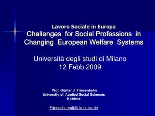 Lavoro Sociale in Europa Challenges  for Social Professions  in