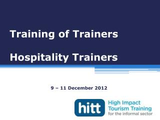 Training of Trainers Hospitality Trainers