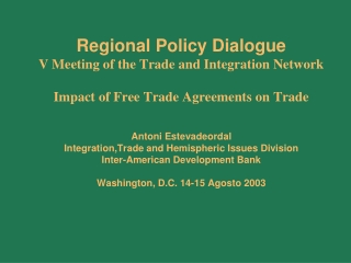 Chapter 14: The Impact of Trade Policies
