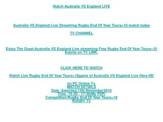 Australia VS England Stream Rugby/End Of Year Tours>10 Live