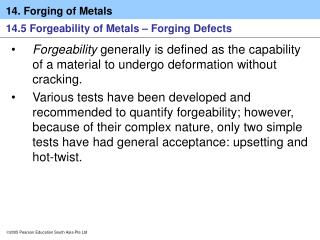 14.5 Forgeability of Metals – Forging Defects