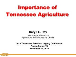 Importance of Tennessee Agriculture