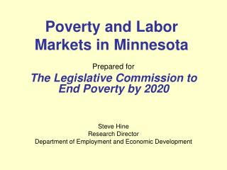 Poverty and Labor Markets in Minnesota