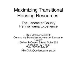 Maximizing Transitional Housing Resources