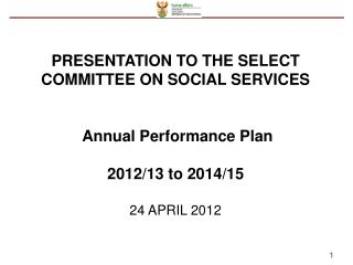 PRESENTATION TO THE SELECT COMMITTEE ON SOCIAL SERVICES  Annual Performance Plan