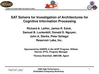 SAT Solvers for Investigation of Architectures for Cognitive Information Processing