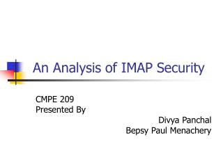 An Analysis of IMAP Security
