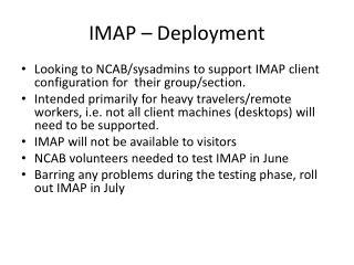 IMAP – Deployment