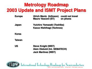 Metrology Roadmap 2003 Update and ISMT Project Plans