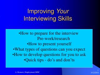 Improving Your Interviewing Skills