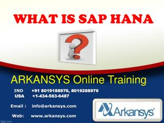 SAP HANA  ONLINE TRAINING | SAP HANA  Project Support | SAP