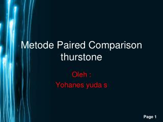 Metode Paired Comparison thurstone