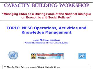 Capacity building workshop   Managing ESCs as a Driving Force of the National Dialogue on Economic and Social Policies