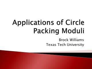 Applications of Circle Packing Moduli