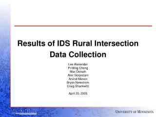 Results of IDS Rural Intersection Data Collection