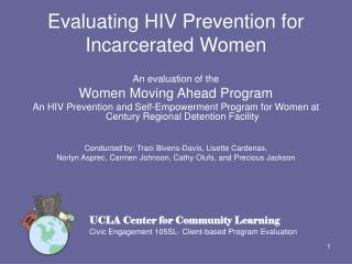 Evaluating HIV Prevention for Incarcerated Women