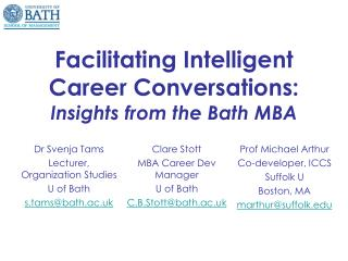 Facilitating Intelligent Career Conversations: Insights from the Bath MBA