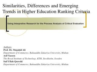 Similarities, Differences and Emerging Trends in Higher Education Ranking Criteria