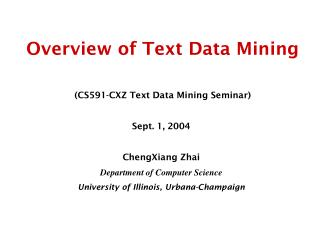 Overview of Text Data Mining