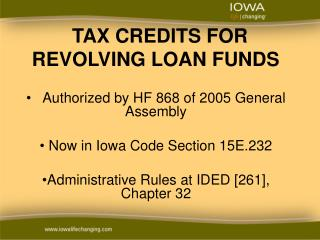 TAX CREDITS FOR REVOLVING LOAN FUNDS