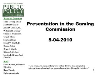 Presentation to the Gaming Commission 5-04-2010