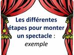 Les diff rentes   tapes pour monter  un spectacle :  exemple