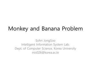 Monkey and Banana Problem