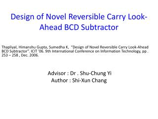 Design of Novel Reversible Carry Look-Ahead BCD Subtractor