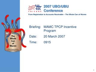 Briefing:	MAMC TPCP Incentive Program Date:	20 March 2007 Time:	0915