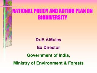 NATIONAL POLICY AND ACTION PLAN ON BIODIVERSITY