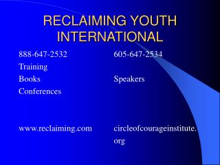 RECLAIMING YOUTH INTERNATIONAL