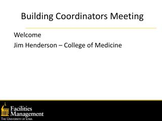 Building Coordinators Meeting