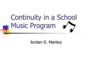 Continuity in a School Music Program