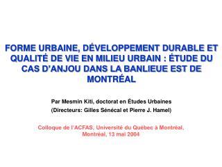 Colloque de l'ACFAS, Université du Québec à Montréal, Montréal, 13 mai 2004
