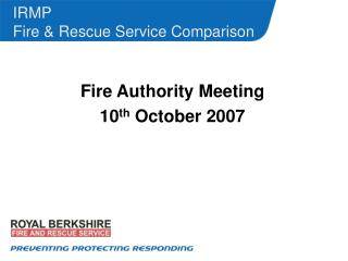 IRMP Fire & Rescue Service Comparison