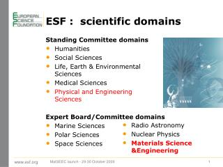 ESF :  scientific domains