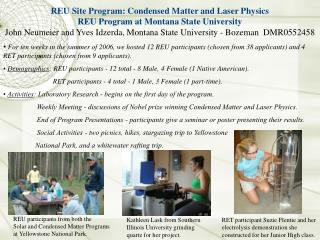 REU Site Program: Condensed Matter and Laser Physics