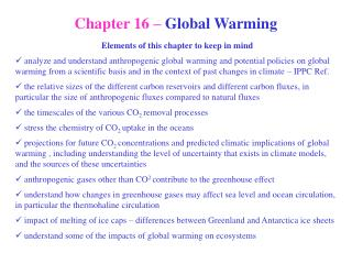 Chapter 16 –  Global Warming