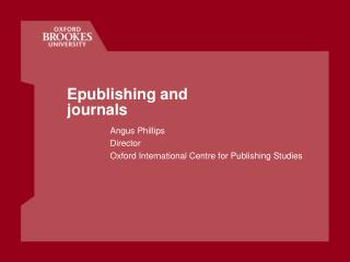 Epublishing and journals