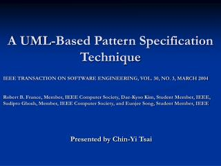 A UML-Based Pattern Specification Technique