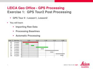 LEICA Geo Office  -  GPS Processing Exercise 1:  GPS Tour2 Post Processing