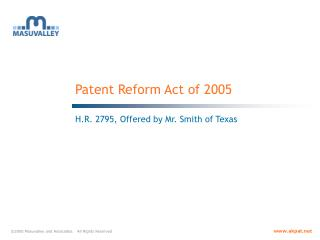 Patent Reform Act of 2005