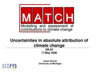 Uncertainties in absolute attribution of climate change SB-24  17 May 2006