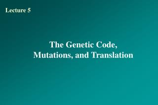 The Genetic Code, Mutations, and Translation