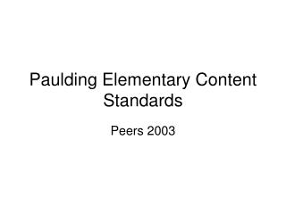 Paulding Elementary Content Standards