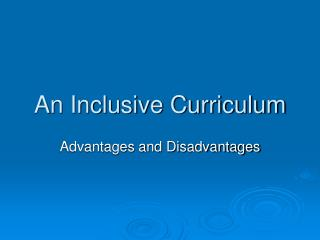 An Inclusive Curriculum