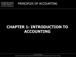 CHAPTER 1:  INTRODUCTION to accounting