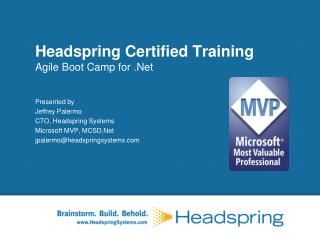 Headspring Certified Training Agile Boot Camp for .Net